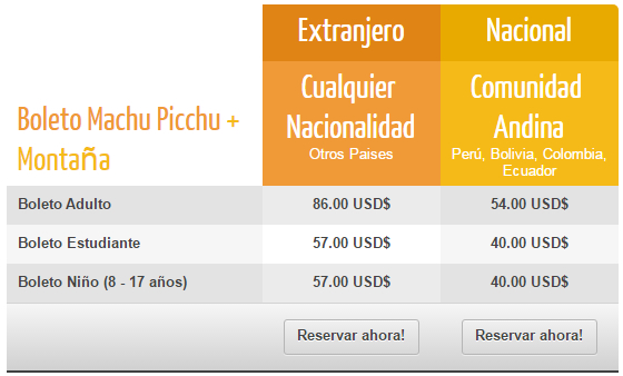 Precio Boleto Machu Picchu + Montaña