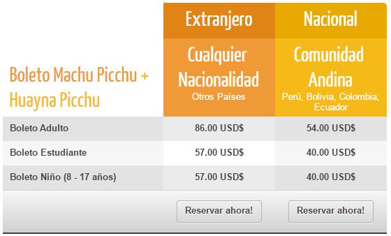 Precio Boleto Machu Picchu + Huayna Picchu